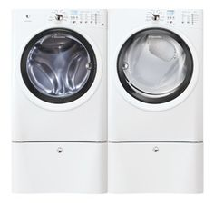 Electrolux IQ Touch White Front Load Washer and ELECTRIC Dryer Laundry Set with Pedestals EIFLW50LIW_EIED50LIW_EPWD15IW
