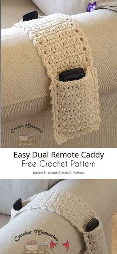 Father's Day Gift Ideas Free Crochet Patterns Dual Remote Caddy<br> It's time to celebrate Dad with a fun, Father's Day-themed crochet gift. Father's day is a great occasion for celebrating your Old Man and thank him for being there and doing all the things that Dads do best. However, it's sometimes difficult to choose the right gift. Moreover, even when... Crochet Simple, Love Crochet, Knit Crochet, Crochet Ideas, Free Easy Crochet Patterns, Diy Crochet Gifts, Easy Crochet Projects, Easy Things To Crochet, Knitted Rug