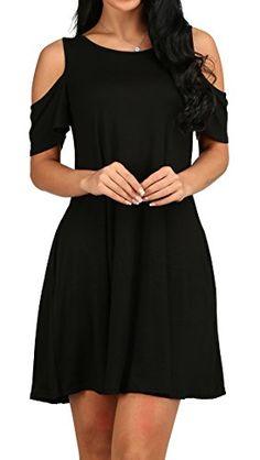 1f5b5c1dcb2c0 Women s O Neck Cold Shoulder Off T-Shirt Loose Tops Black L Women s Dresses