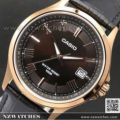 Casio Rose Gold Leather Strap Quartz Mens Watch MTP-1383RL-5AV, MTP1383RL