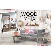 Copper + Blush...Wood + Metal by men-koh on Polyvore featuring interior, interiors, interior design, home, home decor, interior decorating, Schumacher, Andrew Martin, Piet Hein Eek and 1Wall