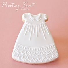 Christening Gown Dress Vintage Lace Cookie Favors - 1 doz. - Baby Shower Baptism Baby Girl