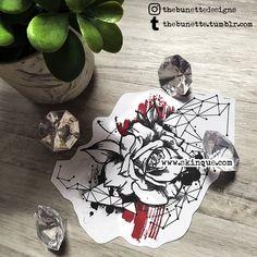 Rose trash polka abstract geometric flower constellation tattoo illustration