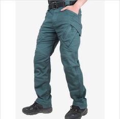Macondoo Mens Zip Multi Pocket Classic Running Outdoor Buttons Straight Cargo Pants