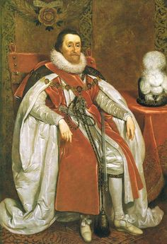 King James I of England, son of Mary, Queen of Scots. He was also the king of Scotland.