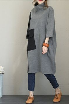 Fall Loose High Neck Cotton Dresses For Women – Linen Dresses For Women Casual Dresses For Women, Cute Dresses, Clothes For Women, Dress Casual, Linen Dresses, Cotton Dresses, Maxi Dresses, Hijab Fashion, Fashion Outfits