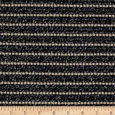 Italian Designer Wool Boucle Navy/Cream/Black from @fabricdotcom  Drape yourself in the highest degree of luxury and bundle up for the colder weather with this amazing wool fabric direct from Italy. This lovely fabric features a woven base with raised boucle yarns for great texture. Create stunning runway-ready jackets, vests, scarves, skirts, and more with this designer fabric. The possibilities are endless! Colors include black, navy, cream, and metallic white threads.