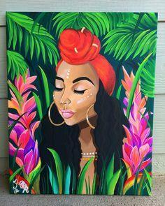 Black Art Painting, Black Artwork, Painting Of Girl, Black Love Art, Black Girl Art, Art Girl, African American Art, African Art, Arte Black