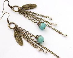 Popular items for long boho earrings on Etsy