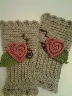 Rosy Heart  Hand Crocheted Hand Warmers