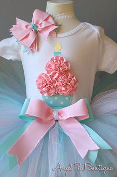 Baby Girl's First Birthday Outfit Cupcake by AngelPieBoutique, $49.99 Love the colors!!!