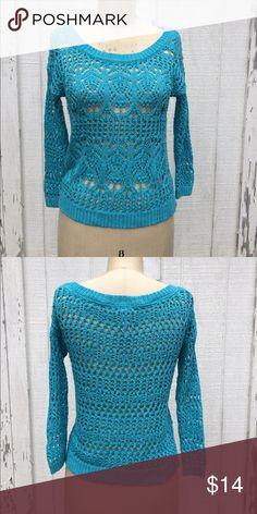 Aeropostale Teal Knit Sweater Jrs Sz XS Aeropostale Teal Aqua blue open Knit 3/4 length sleeve sweater - Sz Jrs XS. In excellent condition Aeropostale Sweaters Crew & Scoop Necks