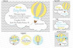Kit Digital Balões amarelo e cinza - Charme Papeteria #chevron #zigzag #amarelo #e #cinza #balões #nuvens