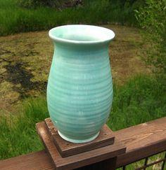English Pottery Vase Soft Green Cottage Chic Tall Vase Art