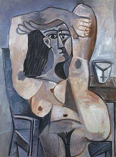 Pablo Picasso - Nu Assis, Bras Croisés sur la Tête - 1959