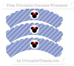 Free Pastel Dark Blue Diagonal Striped  Minnie Mouse Scalloped Cupcake Wrappers