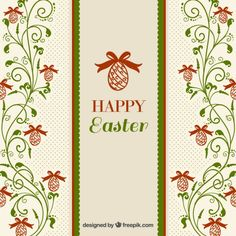Floral ornaments Easter background Free Vector