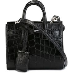 Saint Laurent toy 'Sac de Jour' tote (43030 TWD) ❤ liked on Polyvore featuring bags, handbags, tote bags, ysl, purses, black, man bag, croc tote bag, crocodile purse and croc tote