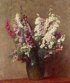 Paintings of Spring: Henri Fantin-Latour ianuarie 1836 – 25 august pictor si litograf francez(I)Flowers Henri Fantin Latour, Art Floral, Flower Of Life, Flower Art, Good Vibe, Still Life Art, Beautiful Paintings, Canvas Art Prints, Artwork