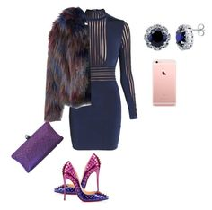 """Something blue."" by dawn-wickham on Polyvore featuring Balmain, Christian Louboutin, Glamorous, BERRICLE, women's clothing, women's fashion, women, female, woman and misses"