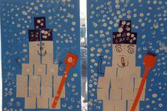 * Sneeuwpop van vierkantjes. Tip: laat de oudere kl ze zelf vouwen en knippen!