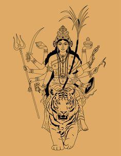 Illustration about Indian goddess Durga sitting on a tiger on a beige background. Illustration of nuse, shield, hinduism - 46693238 Buddhist Symbol Tattoos, Hindu Tattoos, God Tattoos, Buddhist Symbols, Indian Goddess, Kali Goddess, Goddess Art, Tatuagem Sak Yant, Kali Tattoo