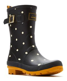 Look at this Black Polka Dot Mollywelly Rain Boot - Women on #zulily today!