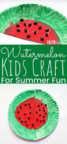 Create these fun watermelon craft for kids! The perfect summer fun craft for toddlers and preschoolers. Easy kids craft to make at home. - simplytodaylife.com #SummerCrafts #WatermelonCrafts #PreschoolCrafts #ToddlerCrafts #CraftsForKids Summer Crafts For Toddlers, Easy Toddler Crafts, Easy Arts And Crafts, Holiday Crafts For Kids, Crafts For Kids To Make, Easy Crafts For Kids, Easy Diy Crafts, Summer Kids, Art For Kids