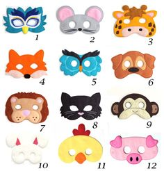 Pick Any Kids Mask Kids Mask Felt Mask Kids Face Mask Animal Mask Halloween Costume Pretend Play Dress Up Party Favors Costume - Halloween Makeup Halloween Kostüm Tier, Costume Halloween, Maske Halloween, Halloween Kids, Halloween Juegos, Raccoon Halloween, Halloween Party, Group Halloween, Couple Halloween