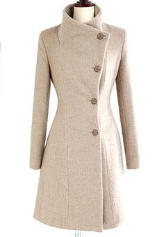 European Style Slim Bowknot Sash Pure Color Worsted Coat from littledaisy