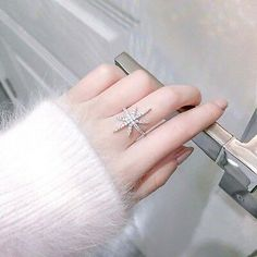 Rings Adjustable Open Six-Pointed Star Ring Crystal Jewelry For Women Girl Muse, Snowflake Ring, Star Costume, Matte Black Nails, Star Ring, Gold Light, Pretty Rings, Rose Gold Color, Star Shape