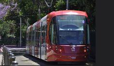 Sydney Light Rail - LRV2117 on the Pitt Street grade heading towards Hay Street