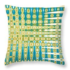 """Turquoise Wave Abstract 14"""" x 14"""" Throw Pillow by Christina Rollo.  Our throw pillows are made from 100% cotton fabric and add a stylish statement to any room.  Pillows are available in sizes from 14"""" x 14"""" up to 26"""" x 26"""".  Each pillow is printed on both sides (same image) and includes a concealed zipper and removable insert (if selected) for easy cleaning."""