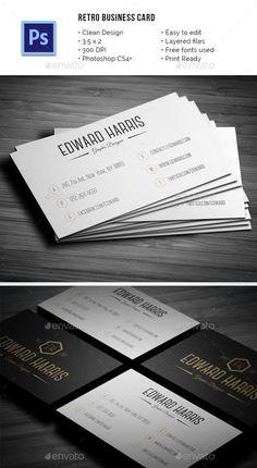 Retro Business Card by mediabq Retro Business Card.psd Fonts Used: Canter Link Here Great Vibes Link Here Bebas Neue Link HerePhotoshop Vintage Graphic Design, Retro Design, Print Design, Print Templates, Card Templates, Vintage Business Cards, Print Fonts, Free Prints, Business Card Design