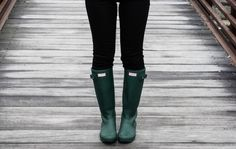Hunter boots with blag jeans