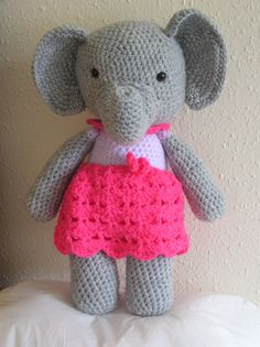 15 inch tall girl Elephant Crochet Cuddly Toy by JustImagineCuddles on Etsy