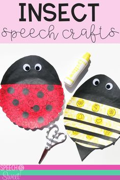 Your speech therapy students will love making these fun bug themed paper plate crafts! You can easily create ladybug and bee crafts for spring or summer speech therapy! These simple crafts are great for articulation, apraxia, phonology, fluency, and language! Check out this blog post for more bug themed speech therapy ideas! #speechtherapy #articulation #speechpathology #languagetherapy