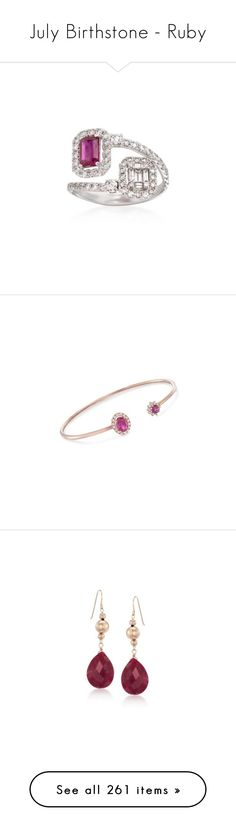 """July Birthstone - Ruby"" by rosssimons ❤ liked on Polyvore featuring jewelry, rings, diamond jewelry, baguette ring, diamond rings, ruby ring, ruby diamond ring, bracelets, rose gold cuff bracelet and diamond cuff bangle"