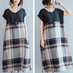 Q58 Summer Casual Maxi Short Sleeve Plaids Jointed 100% Linen Women s Long Dress