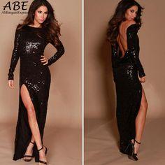 Купить товарНовый 2015 с длинным рукавом блестками спинки вечернее платье черного о образным вырезом повод образным с блестками выпускного вечера 18 в категории Платьяна AliExpress.                  Технические характеристики                          Стильный Сексуальный леди \ 'ы блес