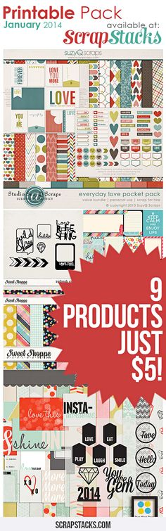 January 2014 Printable Pack is now available at Scrap Stacks!!  Featuring Suzy Q Scraps, Traci Reed and Two More Days. Three great collections for $5.00 http://scrapstacks.com/printable-pack