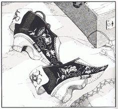 "mono |刺繍まで丁寧に描きこまれた纏足靴。01年に青林工藝舎「アックス」で連載された鳩山郁子『滴翠珠』より。| Carefully draw crowded the bound feet shoes to embroidery. '01 To Ikuko Hatoyama has been serialized in Seirin Kogei-sha ""Axe"" from ""Shizukumidoritama""."