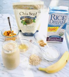 Pumpkin Spice and Chia Seed Smoothie almond milk banana pumpkin yogurt oats chia seeds cinn/nutmeg/ginger honey Smoothies With Almond Milk, Healthy Smoothies, Healthy Drinks, Breakfast Smoothies, Smoothie Recipes, Healthy Snacks, Healthy Eating, Healthy Recipes, Vegaterian Recipes