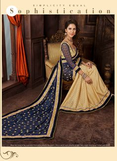 Make the heads flip whenever you dress up in such a stunning Beige and Blue Jacquard Saree. The ethnic Lace work at the clothing adds a sign of attractiveness statement with your look. Buy Online Exclusive Designer Ethnic Saree, Wedding Wear, Party Wear, Ceremonial Wear, Sarees, Shari, Sari, Indian Saris For women. We have large range of Designer Exclusive Sarees Online in our website with the best pricing and unique designs shipping to World Wide.