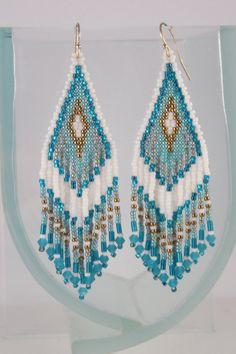 Teal Green and Gold Beaded Earrings Seed by CreationsbyWhiteWolf
