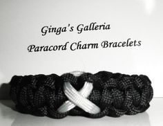 Brain Cancer Awareness Black with Grey Ribbon Paracord Bracelet | gingasgalleria - Jewelry on ArtFire
