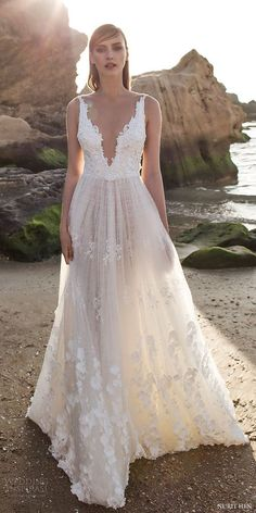 Nurit Hen Royal Couture V neck Lace Wedding Dresses / http://www.deerpearlflowers.com/deep-plunging-v-neck-wedding-dresses/2/