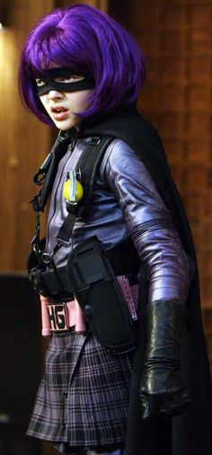 """""""Hit Girl!""""    The preteen killing machine, decked out in mask, kilt and purple wig, is expertly portrayed by 13-year-old Chloe Grace Moretz."""