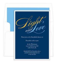 Blue Script Light and Love Invitations