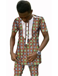 Custom Men Printed Short Sleeve Shirts And Cropped Trousers Fashion African Wax Clothing Customized